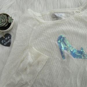 LC Lauren Conrad Cinderella Glass Slipper Sweater